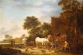 Picture landscape, tree, oil, picture, Isaac van Ostade, Coaching Inn with a Horse at the Trough