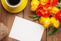 Picture colorful, coffee, tulips, tulips, coffee, bouquet, yellow, cup, flowers