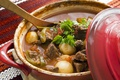 Picture pan, hot, spoon, meat, vegetables, potatoes