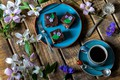 Picture cornflowers, coffee, clematis, cake, mug, flowers