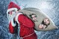 Picture Santa Claus, Snow, Children, Christmas, Santa Claus, Girls, New Year