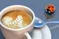 Picture ladybug, coffee, spoon, Cup, foam