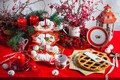 Picture berries, candles, Christmas, pie, lantern, Cup, cakes, sweet, decor, meringue