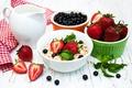 Picture berries, food, Breakfast, milk, blueberries, strawberry, pitcher, mint, muesli