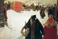 Picture Russian winter, Sergei IVANOV, The arrival of foreigners. The XVII century. 1901, bagels, oil, canvas