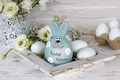 Picture decor, rabbit, holiday, Easter, eggs, flowers