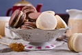 Picture coffee cup, macaroon, cookies, cream, macaron, almond, coffee, cookies, dessert, Cup, cakes