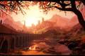 Picture mountains, bridge, castle, woman, Sunrise, Stylized landscape in Unreal 4