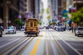 Picture tilt shift, usa, tram, street, San Francisco