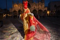 Picture costume, carnival, The Cathedral Of St. Mark, Venice, Italy, night