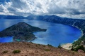 Picture clouds, trees, mountains, lake, stones, rocks, USA, crater, Oregon, Crater Lake national Park
