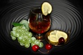 Picture cherry, LEMON, GRAPES, GLASS, COGNAC
