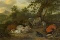 Picture Jan van der Meer, Sleeping Shepherd, oil, animals, picture, canvas