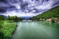 Picture clouds, river, sky, Gera Lario, the sky, summer, greens, bridges, rivers, Italy, Italy, mountains, bridge, ...