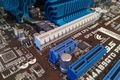 Picture capacitors, radiator, motherboard, slot, Hi-Tech, chips, figures, electro, throttle, pci-e