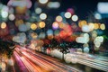 Picture lighting skyscrapers, line speed, strip lights, night, the city, colored lights, road, feel of speed, ...