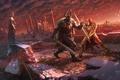 Picture battle, dragon, Anheron, warrior, snow, bridge, armor, river, duel, darkness, sword, art, the city, fight, ...