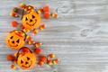 Picture wood, floor, Halloween, pumpkins