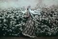 Picture dress, Jodi Lakin, flowering, blue hair, mood, girl, Bella Kotak, the bushes, style