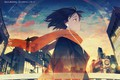 Picture the city, scarf, girl, Anime