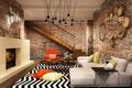 Picture fireplace, Living, Interior, pillow, brick, carpet, wall, ladder, sofa, Design
