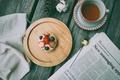 Picture spoon, pie, bump, newspaper, Breakfast, cake, berries, wool, drink, dessert, tea, table, mug