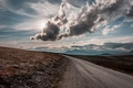 Picture road, the sky, the sun, clouds, Norway