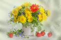 Picture spring, strawberry, the Wallpapers, summer, dandelions, still life, flowers