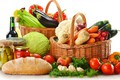 Picture basket, mushrooms, oil, Apple, bow, dill, eggplant, pepper, vegetables, tomato, carrots, cabbage, celery, cuts, baton, ...