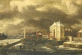 Picture canvas, oil, The gates of the Holy Path in Amsterdam in Winter, picture, Jan van ...