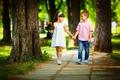 Picture friends, walk, bouquet, stay, children, Bouquets, girl, hand, boy, alley, Little girls, Boys, children, Park, ...