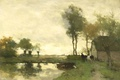 Picture canvas, Johan Hendrik Weissenbruch, oil, Landscape with a Farm Near Lake, picture