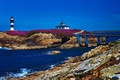 Picture stones, lighthouse, sea, shore, blue sky, Isla Pancha, Spain, bridge, Sunny
