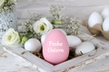Picture flowers, Easter, happy, white roses, flowers, spring, Easter, eggs, decoration, the painted eggs