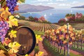 Picture nature, wine, landscape, grapes, bunch, vineyard, barrel, landscapes, Vector, grapes, Four, Rural, seasons, Vineyard, bunches