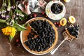 Picture pie, sunflower, berries, mulberry, sweet, dessert, cakes, flowers