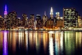 Picture USA, river, promenade, lights, night, lights, New York, home, skyscrapers