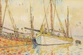 Picture watercolor, Paul Signac, figure, Sailing Boats in Port Louis