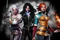 Picture The Witcher 3 Wild Hunt, girls, trio, crow, Trio, background, Triss, Triss Merigold, Cirilla Fiona ...
