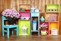 Picture box, decoration, colorful, colors, shelves, lantern, design, home, interior, flowers, flowers, vase