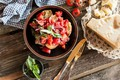 Picture tomatoes-cherry, bow, Parmesan cheese, appetizer, spices, salad, Basil, crackers