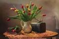 Picture books, bouquet, tulips, birds, chest