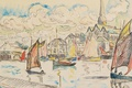 Picture the city, sail, Boats in the Port, watercolor, Paul Signac, figure