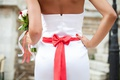 Picture dress, wedding, girl, bow, bouquet, back, bride, dress, bouquet, tape, red, wedding, the bride