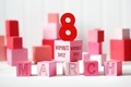 Picture Women's Day, March 8, cubes, gift, red