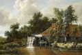Picture oil, landscape, Water Mill, Meindert Hobbema, picture
