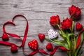 Picture buds, heart, love, valentine`s day, red tulips, romantic, tulips, tape, red, flowers