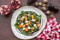 Picture greens, pumpkin, nuts, garnet, Salad
