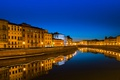 Picture river, Pisa, lights, night, water, channel, Tuscany, lights, home, the sky, Italy, reflection