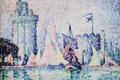 Picture sail, The Port Of La Rochelle, pointillism, Paul Signac, tower, boat, picture